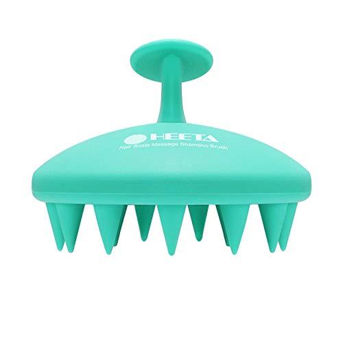 Hair Scalp Massager Shampoo Brush, HEETA Integrated Design Hair Care Brush with Soft Silicone Head Massager (Green)