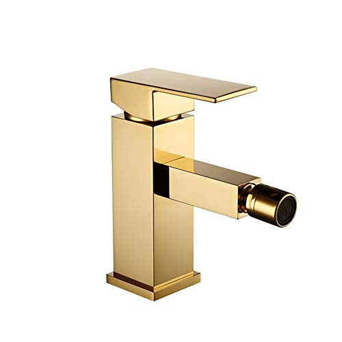 Lowest Prices! HNBMC Bathroom Faucet Brass Square Style Gold Finish Bidet Single Lever Mixer Water T...