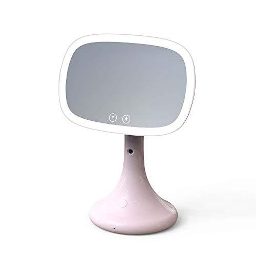 LG Snow Espejo De Maquillaje con Luz LED Lámpara De Mesa Espejo Espray for El Hogar Humidificación Medidor De Agua Escritorio Espejo De Vanidad Fuente De Alimentación De Doble Uso (Color : Pink)