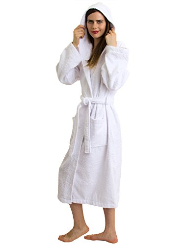 TowelSelections Hooded Bathrobe - 100% Turkish Cotton, Hooded Terry Cloth Robe for Women and Men, Made in Turkey (White, S/M)