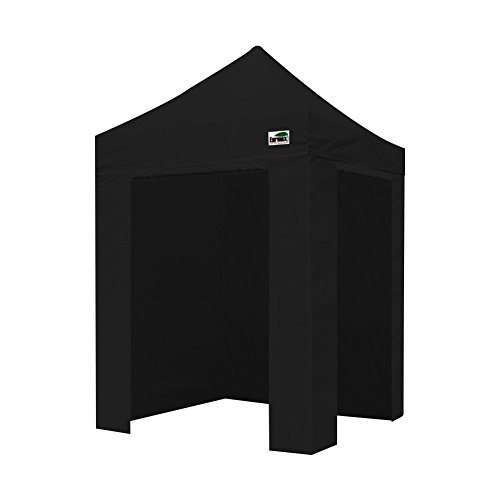 Eurmax Basic 5x5 Ez Pop up Canopy Photo Booth Tent With 4 Removable Zipper End Side Walls with Deluxe Carry Bag (Black)