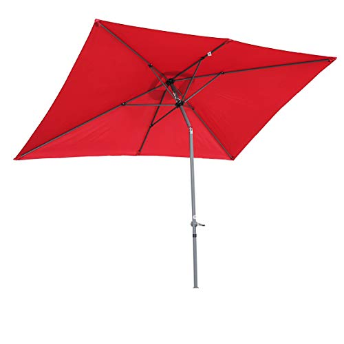 Angel Living Parasol en Aluminium 2x3M Parasol inclinable,Parasol pour Patio et Jardin (Rouge)
