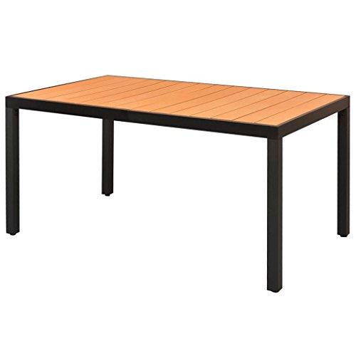 Tidyard Garten Esstisch Witterungsbeständig Gartentisch Gartenmöbel Tisch Balkontisch Terrassentisch WPC Aluminium Braun 150 x 90 x 74 cm