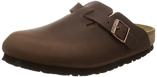Birkenstock Boston - Zuecos de piel natural unisex, color marrón (habana), talla...