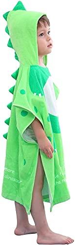 LOLANTA Toalla de Baño con Capucha de Dinosaurio para Niños, Poncho Encapuchados de niño y niña,100% Algodón Secado Rápido(A-Verde,5-7 Años,Tamaño de la Etiqueta L