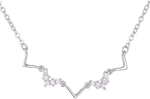 Collar con Colgante de Color Plateado con frecuencia cardíaca, joyería para Mujer, cumpleaños para Mujeres y niñas