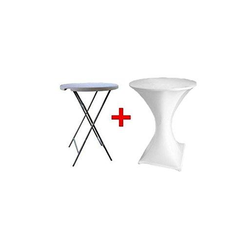 Statafel klap staan essen + wit tafelkleed