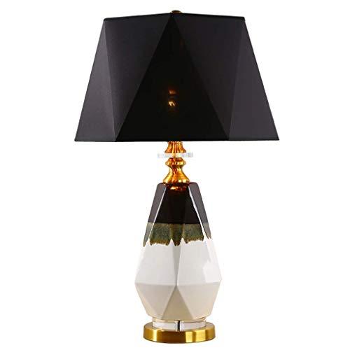 Lámpara de mesa para dormitorio, lámpara de mesa poligonal de cerámica para dormitorio, lámpara de noche, estilo europeo, salón, mesa de café, estudio, decoración de lámpara e iluminación