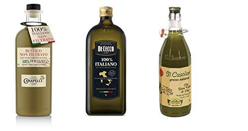 Testpaket Olio Extra Vergine di Oliva Italiano Italienisches Olivenöl extra vergine Farchioni Il Casolare - Carapelli Non Filtrato - De Cecco 100% Italiano ( 3 x 1Lt )