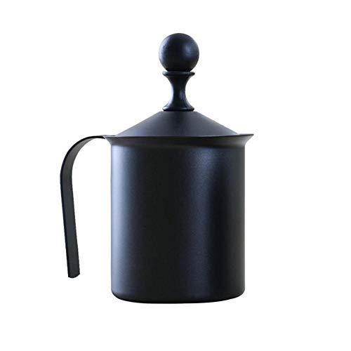 Momangel Milchaufschäumer, Edelstahl, doppelschichtig, 400/800 ml, für Cappuccino, Kaffee, Schaum, Geschenk zum Einweihen, edelstahl, Schwarz, 800 ml