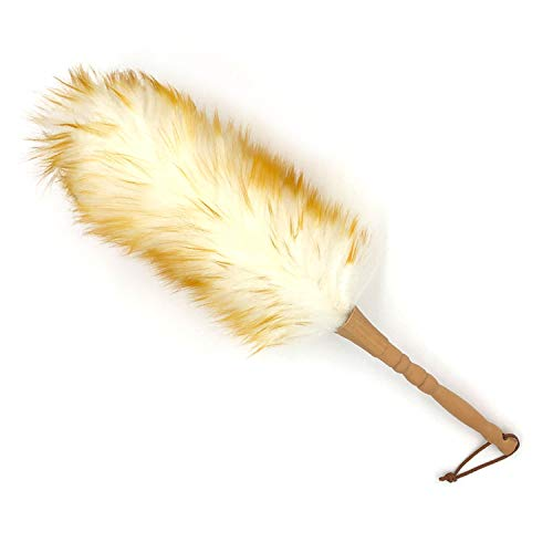 J&A Lambs Wool Duster with Solid Wooden Handle,Flexible Head,Leather Hang Strap,18.9 inchs Long,Comfortable Grip Natural Feather Duster for Cleaning Screen,Funiture,Ceiling Fans,Blinds etc(Pack of 1)