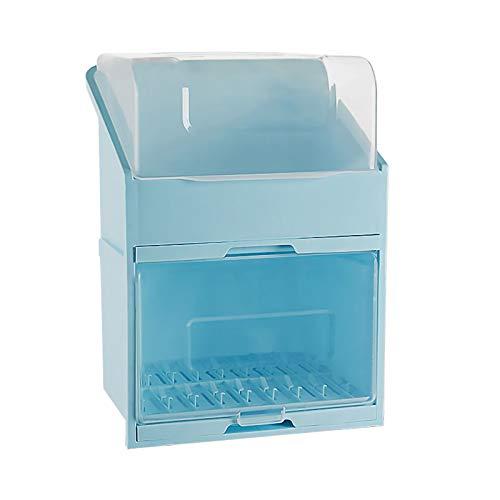 LMAMZ 2 Niveles Escurridor de Platos Compacto con Bandeja de Goteo, Organizdor de Platos Cocina Multifunctional, Estante de Almacenamiento de Vajilla Plastico con Tapa Transparente,Azul