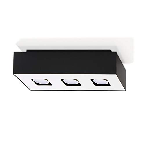 Plafonnier LED Mono 3-flammig Plafonnier Extérieur Noir, Intérieur Blanc 34x14cm Lampe de Salon Lampe Moderne Eclairage Intérieur Lampe+3x 7W Ampoule LED 2700K