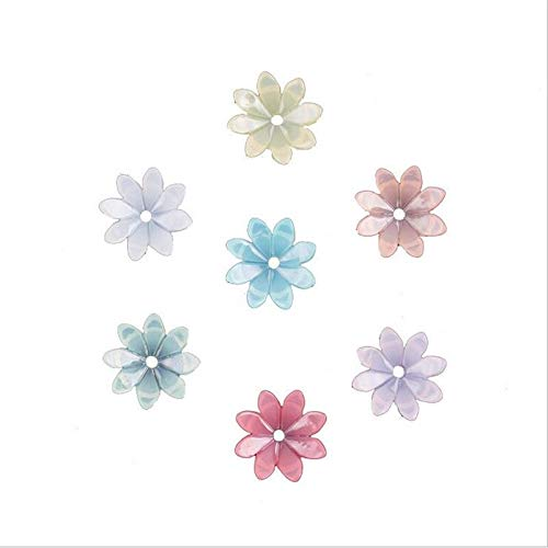 JINAN 50pcs/lot 9mm Resin Flower Beads Hair Clip Hairpinmaking Handmade Accessories Material Loose Beads With Hole (Color : Mixed color)