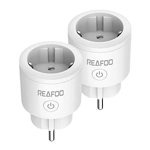 Enchufe Inteligente Wifi REAFOO Mini Smart Plug Temporizador con control remoto por voz Compatible con Alexa Echo Google Asistente no se requiere Hub, iOs y Android, red 2.4GHz (2 paquetes)