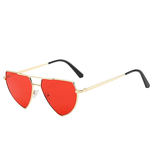 Astemdhj Gafas de Sol Sunglasses Gafas De Sol Ojo De Gato Mujer Gafas De Sol De Lujo Mujer Gafas De Sol De Diseñador para Mujer/Hombre GolddarkredAnti-UV