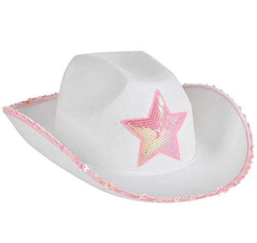 Rhode Island Novelty White Felt Cowgirl Hat with Pink Star, One per Order