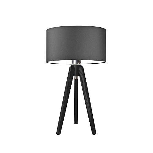 SABA - Lámpara de escritorio (pantalla de grafito, marco de madera), color negro