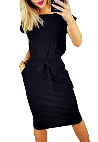 YEEKA Dresses for Women Striped Elegant Short Sleeve Casual Pencil Dress with Belt