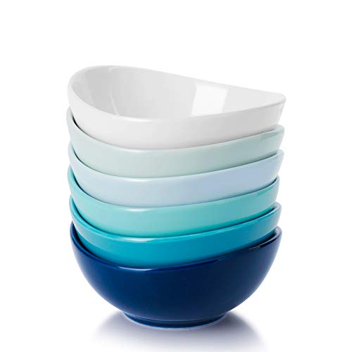 Sweese 123.003 Porcelain Mini Bowls - 4 Ounce for Dipping Sauces, Small Side Dishes - Set of 6, Cool Assorted Colors