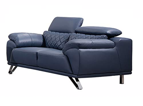 American Eagle Furniture EK529 Ultra Modern Top Grain Italian Leather Living Room Loveseat, 67', Navy Blue