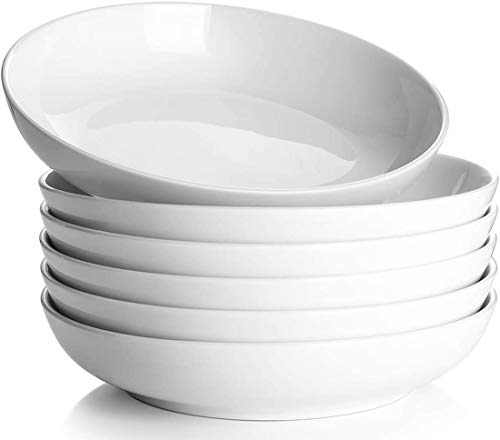 9' Pasta Bowls, 25 Ounces Large Salad Bowls, Ceramic Dinner Plates Set of 6, Shallow and Wide...