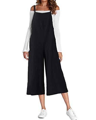 ACHIOOWA Latzhose Damen Jumpsuits Klassisch Overall Retro Oversize Hosen Sommerhose Trousers Spielanzug Playsuit Schwarz-881905 L