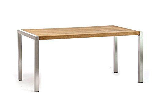 Destiny Esstisch Tisch Macao 160 x 90 Edelstahl Teak Klapptisch Gartentisch