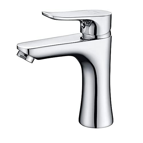 ALYHYB Grifo mezclador de latón para lavabo de baño, grifo mezclador de lavabo, monomando de agua fría y caliente, grifos de lavabo, fácil de instalar, para lavabo y lavabo de baño