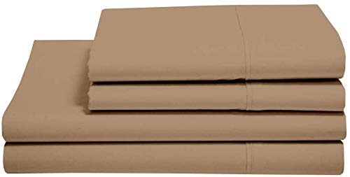 5 Star Experience 100% Egyptian Cotton, Taupe Solid Bed Sheet Set, 400 Thread Count with Amazing Softness Emperor Size with 38cm Deep Pocket Fitted Sheet.
