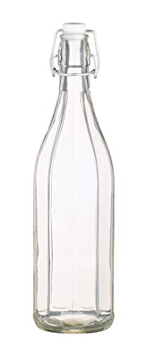 KitchenCraft 1 Litre Glass Bottle for Oil, Vinegar or Water with Lever Arm Stopper