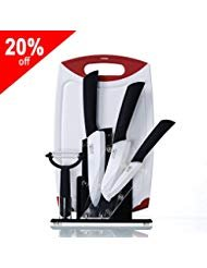 """6 Piece Kitchen Knife Ceramic Block Set:Includes 6-inch Ceramic chef Knife,5"""" Ceramic Santoku Knife,4"""" Ceramic fruit Knife,Ceramic Peeler,Acrylic Block,PP Board;Great Chef Gift(FBA)"""