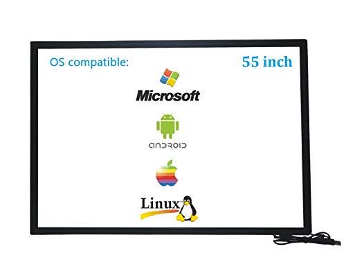 Deyowo 55 Zoll Infrarot-Touchscreen-Rahmen, IR-Touchscreen-Overlay, Touchscreen-Panel, kostenloser Treiber für interaktives Whiteboard, Touch-LCD-Monitor TV