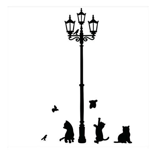 WINOMO gatto adesivi murali con Uccelli e Lampada da Strada per Casa Ufficio Camera Stanza Ristorante Fai da Te 33 x 60CM