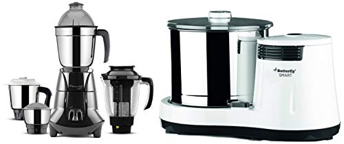 Butterfly 750W Mixer Grinder with 4 Jars and Table Top Wet Grinder with Coconut Scrapper Attachment