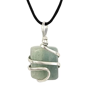 Aquamarine Gemstone Pendant Necklace - Natural Crystal Healing | Stone of Courage | Throat Chakra & Communication Aid | Calming & Soothing Energy to Relax and Reduce Stress | Jewelry for Men & Women
