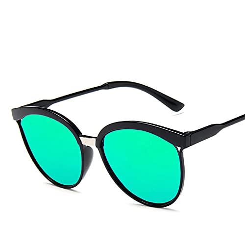 Gafas De Sol De Diseñador De Marca Cat Eye para Mujer, Gafas De Sol De Plástico De Lujo, Gafas Clásicas Retro para Exteriores, C8, Negro-Verde