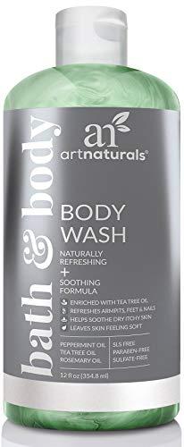 ArtNaturals Tea Tree Body Wash - (12 Fl Oz   355ml) - Peppermint and Eucalyptus Oil - Natural Soap - Dry Skin, Jock Itch, Acne Athletes Foot Wash Treatment