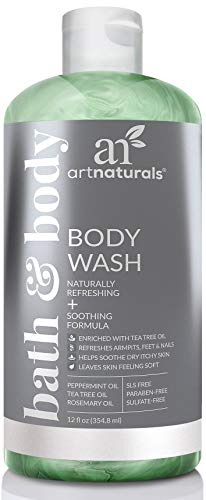 ArtNaturals Tea Tree Body and Foot Wash - (12 Fl Oz / 355ml) - Peppermint and Eucalyptus Oil - Natural Anti-Bacterial Soap - Eczema Anti-Fungal Feet, Dry Skin, Jock Itch, Acne Athletes Foot Treatment
