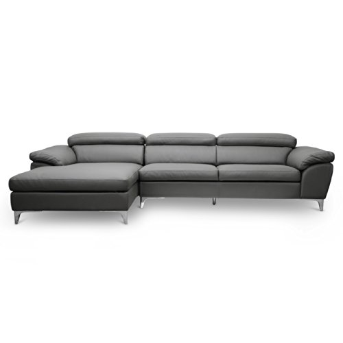 Baxton Studio Voight Modern Sectional Sofa, Gray