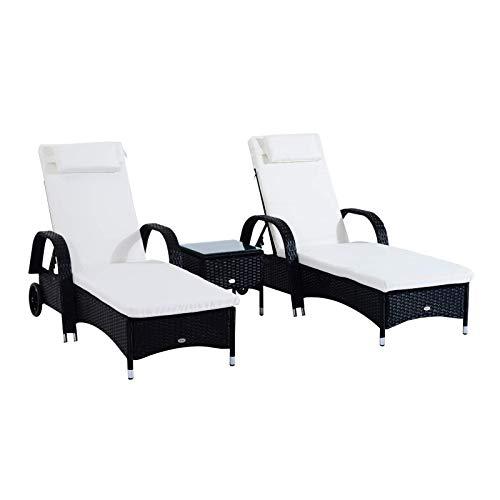 PQXOER Tumbona para tomar el sol, juego de 2 tumbonas de ratán con colchón acolchado y mesa baja, color negro