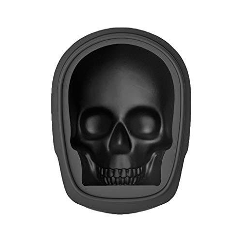 Fugift Molde de silicona para cubitos de hielo 3D con diseño de calavera para chocolate, whisky, decoración de Halloween para bar, fiesta, cocina, utensilios de repostería