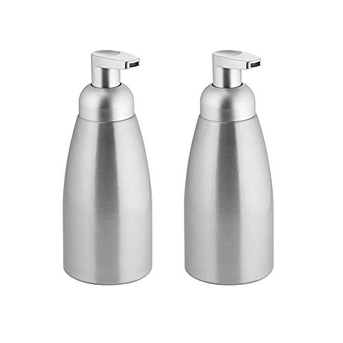 mDesign Modern Metal Foaming Soap Dispenser Pump Bottle for Kitchen Sink Countertop, Bathroom Vanity, Utility/Laundry Room, Garage - Save on Soap - Rust Free Aluminum - 2 Pack - Brushed/Silver