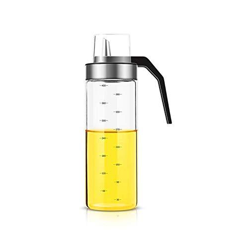 オイルボトル 調味料瓶 オリーブオイルディスペンサー ガラスオイルポット 酢タンク クラムシェルオイルボトル キッチン調味料 防塵、防湿、耐食性 450ML