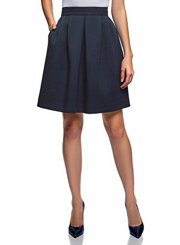 oodji Ultra Mujer Falda de Silueta en A con Cremallera, Azul, ES 44 / XL