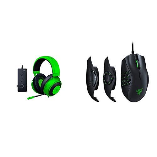 Razer Kraken Tournament Edition THX 7.1 Surround Sound Gaming Headset – Green & Naga Trinity Gaming Mouse: 16,000 DPI Optical Sensor - Chroma RGB Lighting - Interchangeable Side Plate