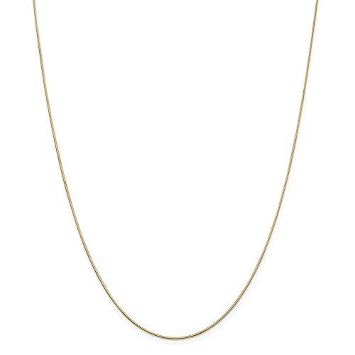 Diamond2deal 14K giallo oro .80mm ottagonale serpente catena collana 76,2cm