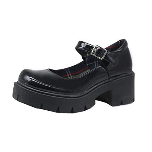 Piattaforma Tacchi grossi per Le Donne Stile Giapponese Pu Leather Lolita Mary Jane Scarpe Classici Punta Tonda Cinturino con Fibbia Tacchi Alti