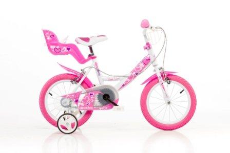 DINO CITY 144RN 14 pouce KIDSBIKE fille- vélo, bicyclette, enfant-velo, bécane, vélocipède, rouler en vélo, faire du vélo..blanc-pink..stabilisateurs..gardeboue.. pannier-avant..porte-poupee 14pouce 3-6 ans 100-120cm