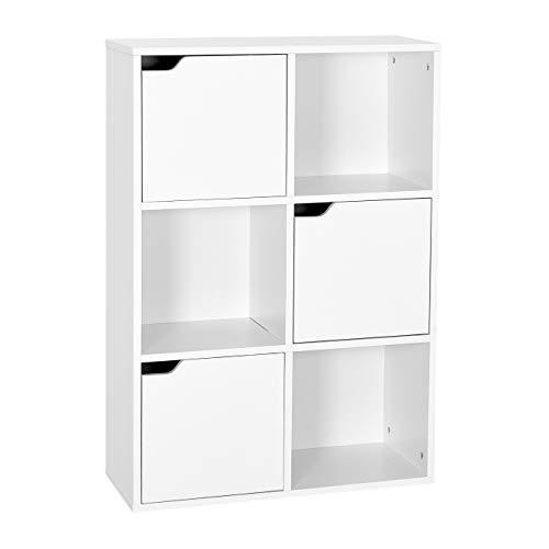 Meerveil Estantería Librería Estantería para Libros Estantería Almacenaje de Pared de 6 Cubos 3 Puertas Blanco 60 x 90 x 30 cm